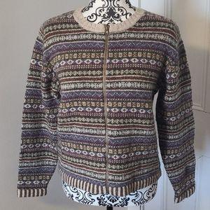 L.L. Bean Fair Isle wool silk blend cardigan